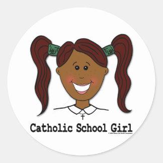 Catholic School Girl Lisa Round Stickers