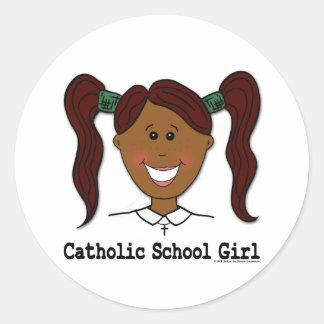 Catholic School Girl Lisa Round Sticker