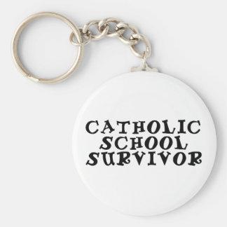 catholic school survivor basic round button keychain