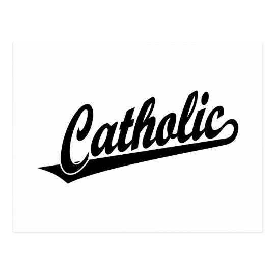 Catholic script logo  in black postcard