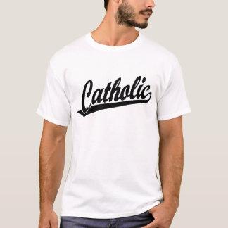 Catholic script logo  in black T-Shirt