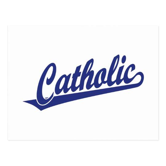 Catholic script logo  in blue postcard