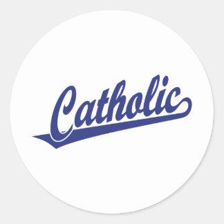 Catholic script logo  in blue classic round sticker