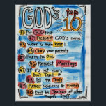 "Catholic Top Ten Poster<br><div class=""desc"">An updated version of the 10 commandments perfect for kiddos,  and adults!</div>"