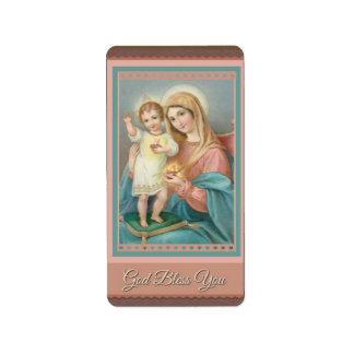 Catholic Virgin Mary Child Jesus Label