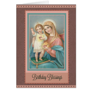 Catholic Virgin Mary Jesus Birthday Note Card