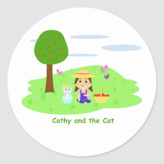 """Cathy and the Cat with Apples"" sticker"