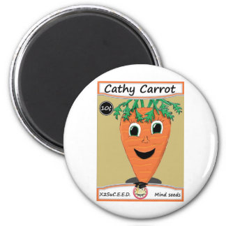 Cathy Carrot Seed Packet 1 2 Inch Round Magnet