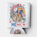 Caticorn 4th of July T shirt Cat Unicorn Meowica Can Cooler
