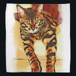 """CATITUDE BANDANA<br><div class=""""desc"""">A posterized design of a Bengal kitten hanging out with a &quot;don&#39;t mess with me&quot; attitude.</div>"""