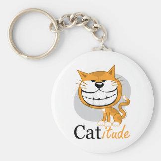 Catitude Basic Round Button Keychain