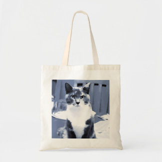 """""""Catitude"""" Calico cat painting in blue hues Tote Bags"""