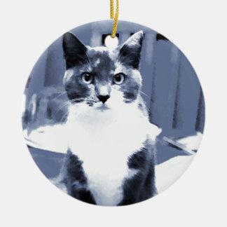 """Catitude"" Calico cat painting in blue hues Ceramic Ornament"