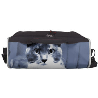 """""""Catitude"""" Calico cat painting in blue hues Laptop Bags"""