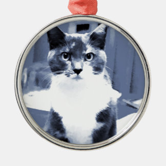 """""""Catitude"""" Calico cat painting in blue hues Metal Ornament"""