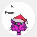 catitude christmas tag classic round sticker