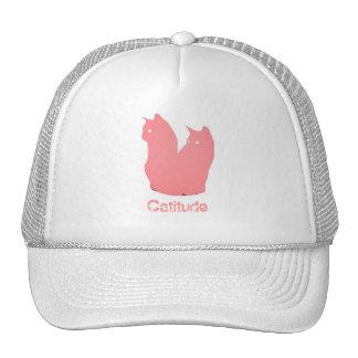 Catitude in pink trucker hat