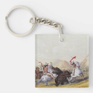 Catlin Native American Art Single-Sided Square Acrylic Keychain
