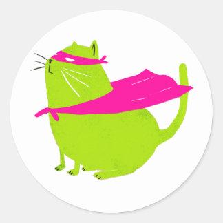 Catman Green Classic Round Sticker