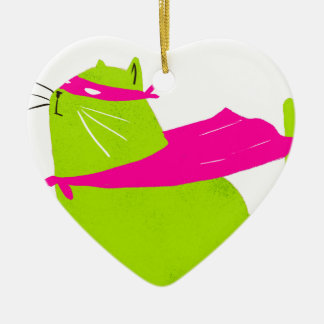 Catman Green Double-Sided Heart Ceramic Christmas Ornament