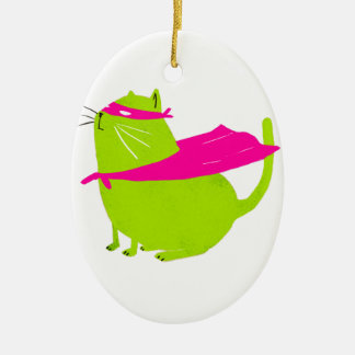 Catman Green Double-Sided Oval Ceramic Christmas Ornament
