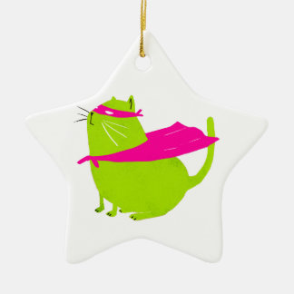 Catman Green Double-Sided Star Ceramic Christmas Ornament