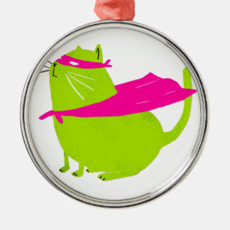 Catman Green Round Metal Christmas Ornament