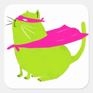 Catman Green Square Sticker