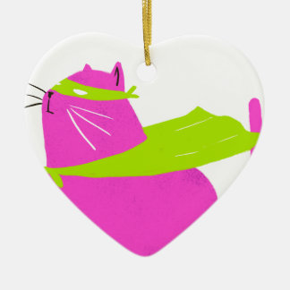 Catman Pink Double-Sided Heart Ceramic Christmas Ornament