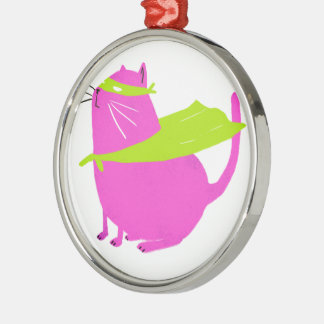 Catman Pink Round Metal Christmas Ornament