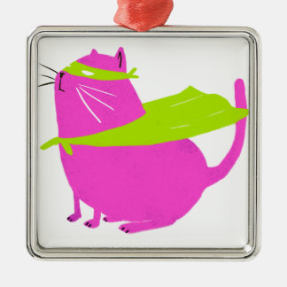 Catman Pink Square Metal Christmas Ornament