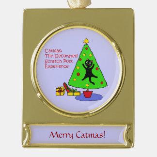 Catmas Experience Gold Plated Banner Ornament