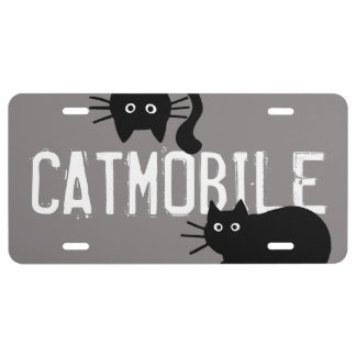 Catmobile Black Cats with Custom Text License Plate