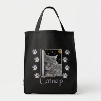 Catnap Gray Tabby Cat Canvas Tote