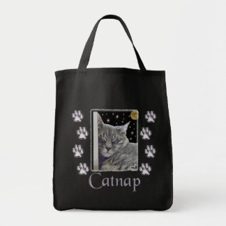 Catnap Gray Tabby Cat Canvas Tote Grocery Tote Bag