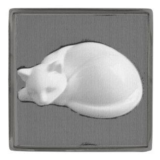 Catnap In Stone Gunmetal Finish Lapel Pin