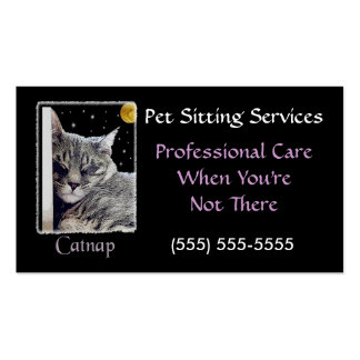 Catnap Pet Sitting Business Profile Card Template Double-Sided Standard Business Cards (Pack Of 100)