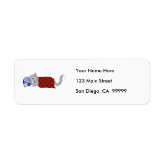 Catnapping Kitty with Plaid Blanket Return Address Label
