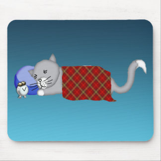 Catnapping Kitty with Plaid Blanket Mouse Pad