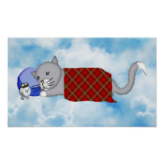 Catnapping Kitty with Plaid Blanket Poster