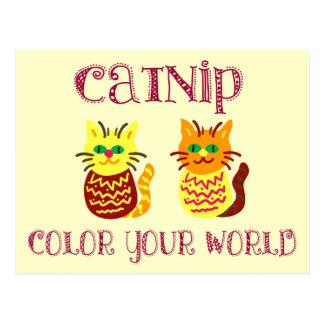 Catnip colorido tarjeta postal