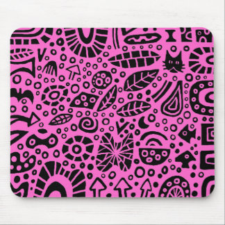 Catnip Dreams - Black on Pink FF66CC Mouse Pad