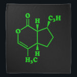 """Catnip Nepetalactone Molecular Chemical Formula Bandana<br><div class=""""desc"""">Catnip Nepetalactone Molecule ~ Chemical Skeletal Structural Formula Organic Compound.   Globe Trotters specialises in idiosyncratic imagery from around the globe. Here you will find unique Greeting Cards,  Postcards,  Posters,  Phone Cases,  Stickers,  Mousepads and more.</div>"""