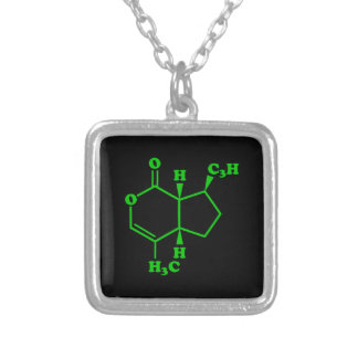 Catnip Nepetalactone Molecular Chemical Formula Silver Plated Necklace