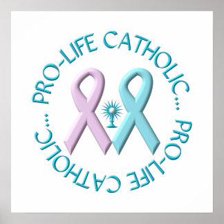 Católico antiabortista w/Monstrance y cintas rosad Póster