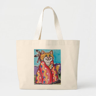 """""""Catpoose"""" Cat in Indian Blanket, Colorful, Cute! Large Tote Bag"""