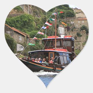 Catraios do Douro boat, Porto,Portugal Heart Sticker