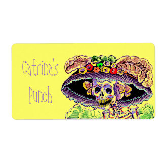 Catrina Dia de Los Muertos Party Drink Punch Label