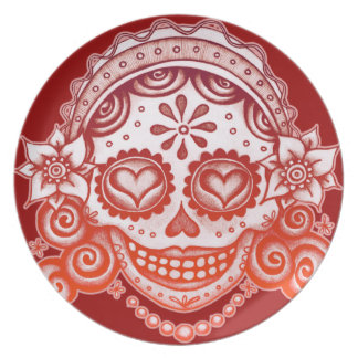 Catrina Sugar Skull Lady Day of the Dead Plate