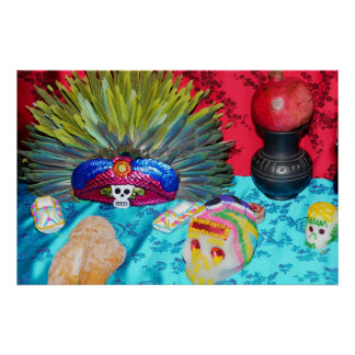 Catrina tin and feather headdress poster
